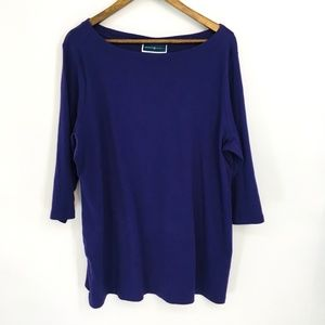 Karen Scott Purple Scoop Neck 3/4 Sleeve Tunic Top